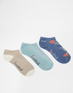 Lovestruck 3 пары темно-синих спортивных носков с цветочным рисунком. Цвет: темно-синий