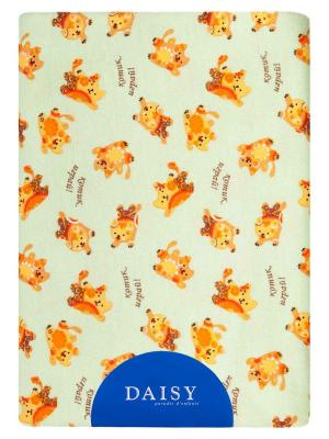 Пеленка Трикотаж тепл.100х120 Котик DAISY. Цвет: светло-зеленый, бронзовый, оранжевый