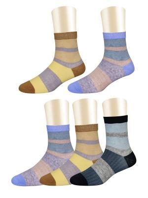 Носки, 5 пар Glamuriki. Цвет: черный, желтый, коричневый