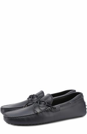 Кожаные мокасины со шнурком Tod's. Цвет: темно-синий