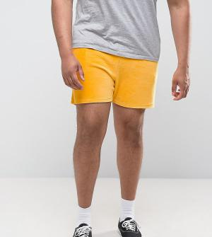 ASOS Желтые велюровые шорты PLUS. Цвет: желтый