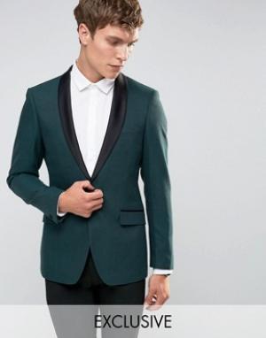 Number Eight Savile Row Облегающий пиджак для смокинга с атласными лацканами Savi. Цвет: зеленый