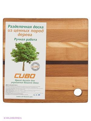 Доска разделочная Фантазия мини с отверстием для подвеса CUBO. Цвет: светло-коричневый, темно-бежевый