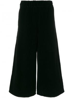 Вельветовые укороченные широкие брюки Labo Art. Цвет: чёрный