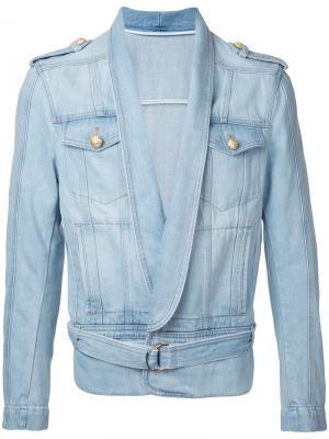 Драпированная куртка Balmain. Цвет: синий