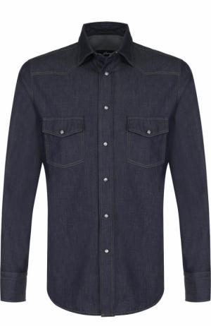 Хлопковая рубашка на кнопках Brioni. Цвет: темно-синий