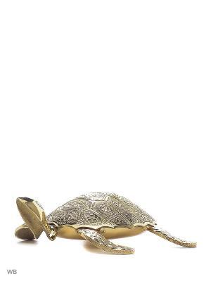 Шкатулка Черепаха латунь резная ETHNIC CHIC. Цвет: золотистый