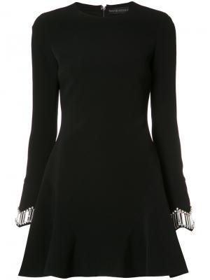Платье с вышивкой на манжетах David Koma. Цвет: чёрный