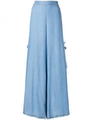 Широкие джинсовые брюки с бахромой Jonathan Simkhai. Цвет: синий