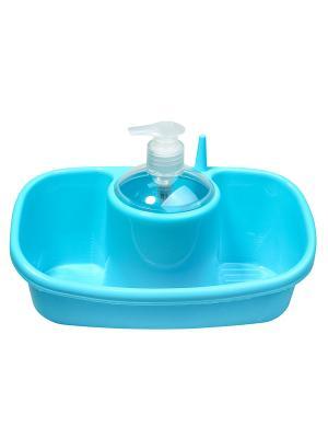 Контейнер для мочалок и геля Migura. Цвет: голубой, прозрачный