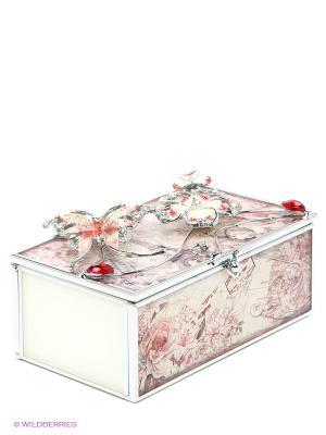 Шкатулка Романтическое настроение JARDIN D'ETE. Цвет: серебристый, молочный, красный