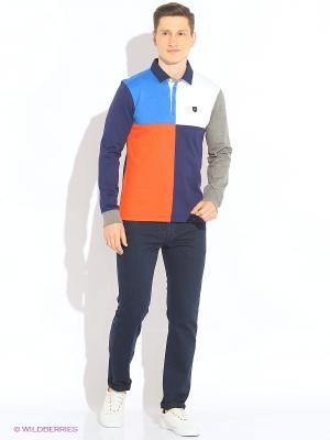 Лонгслив-поло Eden Park. Цвет: темно-синий, синий, серый, оранжевый, белый