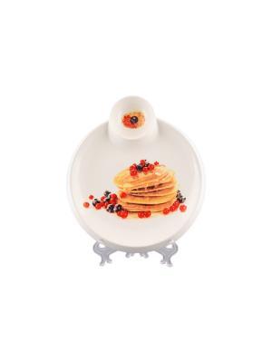 Тарелка для блинов Блины с ягодами Elan Gallery. Цвет: белый, красный, черный