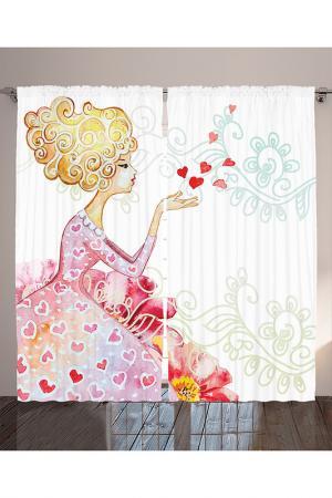 Комплект штор, 290x265 см MAGIC LADY. Цвет: белый, розовый