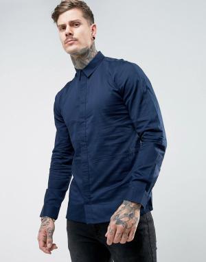 Another Influence Узкая рубашка со вставками. Цвет: темно-синий