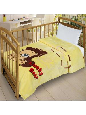 Плед Велсофт-беби в кроватку, 110х140 Letto. Цвет: желтый