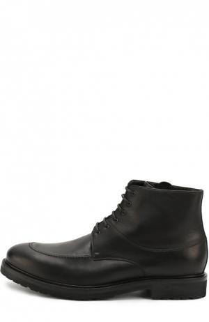Кожаные ботинки с внутренней отделкой из овчины A. Testoni. Цвет: черный