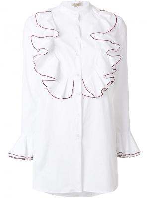 Рубашка с оборками Mantu. Цвет: белый