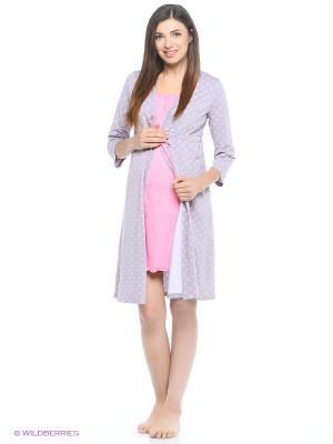 Комплект женский для беременных и кормящих (халат+сорочка) Hunny Mammy. Цвет: розовый, серый