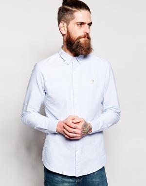 Farah Голубая оксфордская рубашка слим Brewer. Цвет: синий