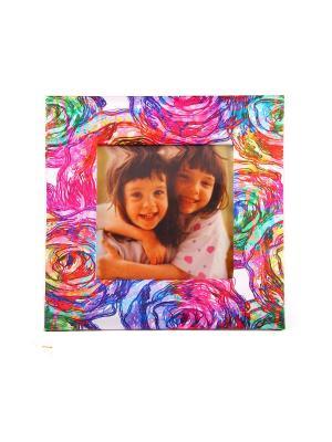 Фоторамка Розы для фото 10*10см, 17*17см Русские подарки. Цвет: лазурный, бирюзовый, салатовый, сиреневый, малиновый, желтый