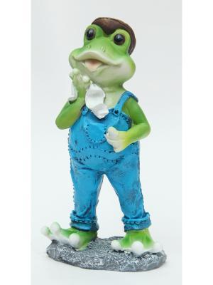 Декоративная фигурка Лягушка в комбинезоне Magic Home. Цвет: серо-зеленый, серебристый