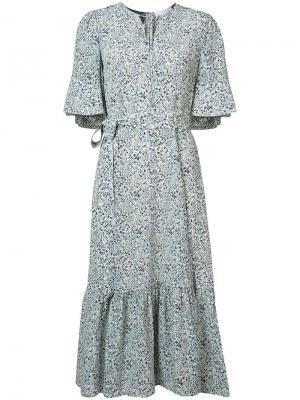 Платье с цветочным принтом поясом Co. Цвет: белый