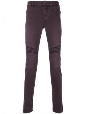 Байкерские джинсы скинни Balmain. Цвет: красный
