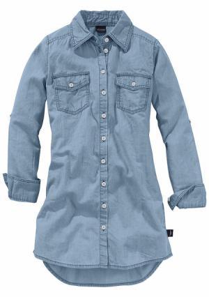Джинсовое платье-рубашка Arizona. Цвет: светло-синий