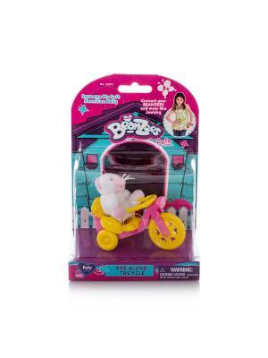 Beanzeez Игровой набор плюшевый  Котенок с велосипедом. Цвет: розовый