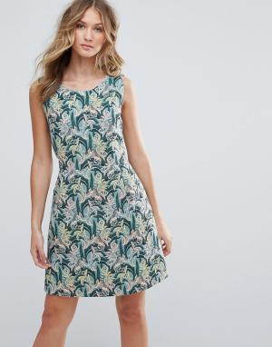 Deby Debo Платье мини с пальмовой вышивкой Tigre. Цвет: зеленый