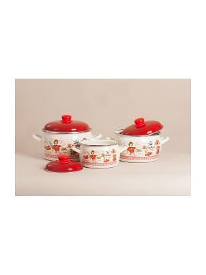 Набор посуды 6 предметов (2,2л, 4л, 5,3л), мет.крышки METROT. Цвет: бежевый, красный