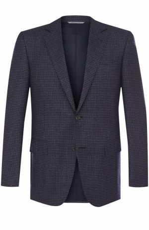 Шерстяной однобортный пиджак Canali. Цвет: фиолетовый