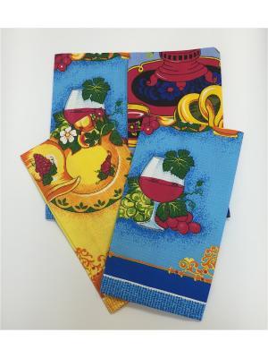 Набор полотенец, 4 шт A and C Collection. Цвет: голубой, красный, желтый