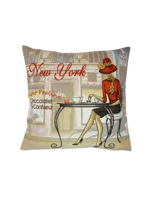 Подушка Кафе Нью-Йорк правая T&I. Цвет: красный