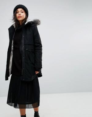 Parka London Парка с подкладкой из искусственного меха на капюшоне Cla. Цвет: черный