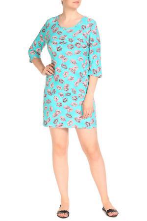 Платье домашнее LAVELLE. Цвет: ярко-розовый, бирюзовый