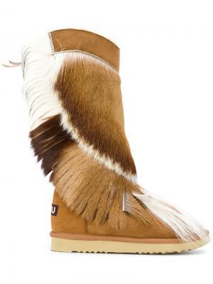 Ботинки с бахромой Mou. Цвет: коричневый