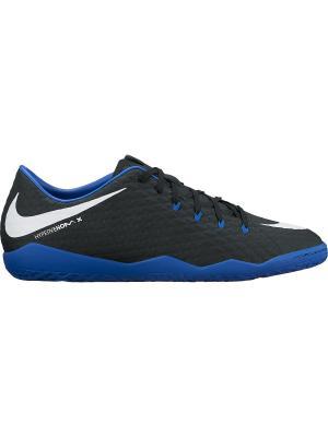 Бутсы Nike Hypervenom Phelon III (IC). Цвет: черный, белый, синий