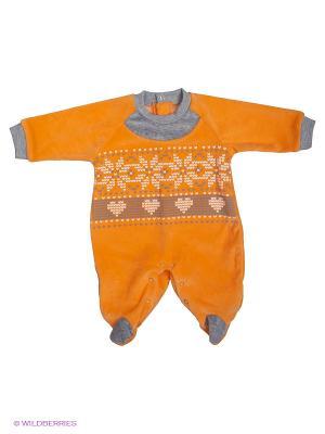 Комбинезон FIM. Цвет: оранжевый, серый меланж