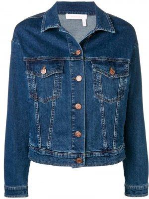 Джинсовая куртка с принтом на спине See By Chloé. Цвет: синий