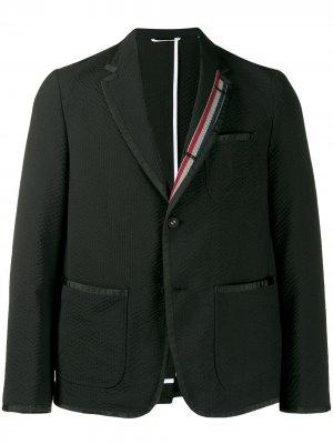 Пиджак из сирсакера Thom Browne. Цвет: черный