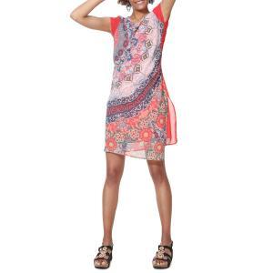 Платье струящееся средней длины с графическим рисунком Japan DESIGUAL. Цвет: красный наб. рисунок