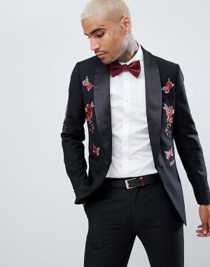 Приталенный смокинг с цветочной вышивкой Devils Advocate. Цвет: черный