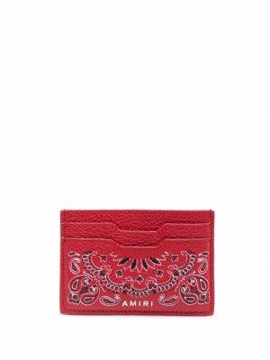 Картхолдер с принтом пейсли и логотипом AMIRI. Цвет: красный