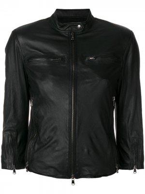 Приталенная кожаная куртка R13
