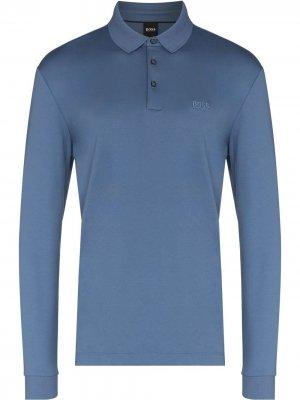 Рубашка поло Pado с длинными рукавами BOSS. Цвет: синий