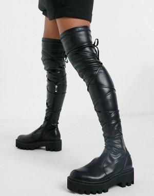 Черные высокие ботфорты с ремешками -Черный Lamoda