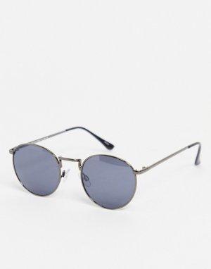 Круглые солнцезащитные очки с темно-серыми зеркальными стеклами -Черный Selected Homme
