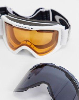 Белые горнолыжные очки с крупной оправой и оранжевыми/серыми линзами Frame 2.0 pro-Белый Oakley
